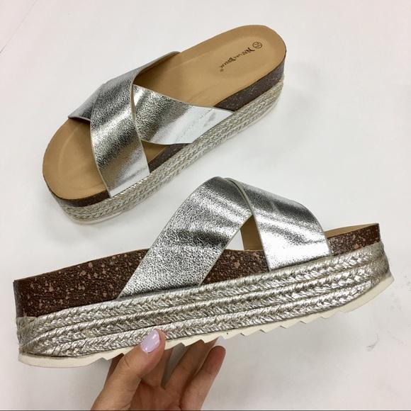 Silver Espadrille Platform Sandal